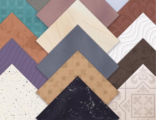 Carreaux De Sol En Céramique Réaliste Colorés Horizontaux Avec Des Carrés De Différents Types Et Styles De Carreaux Vecteur gratuit