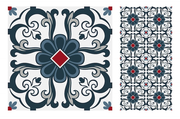 Carreaux Vintage Motifs Design Sans Couture Antique Vecteur Premium