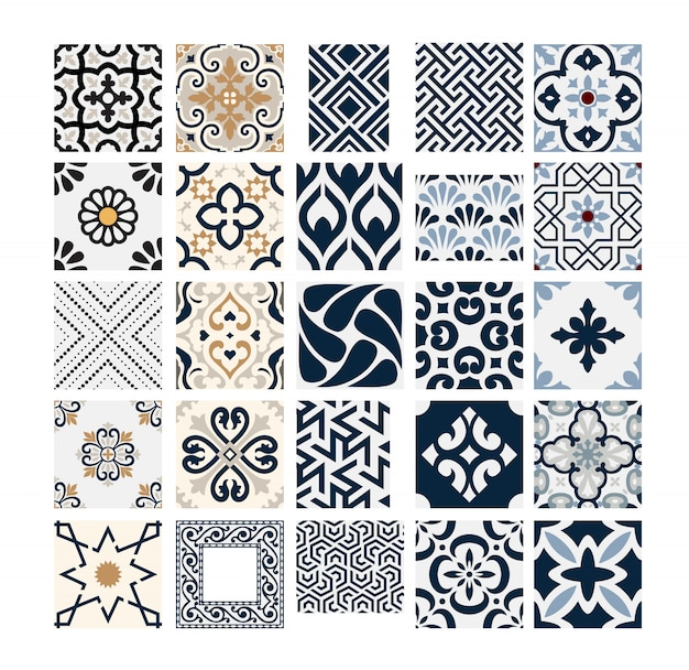 Carreaux vintage motifs portugais antique design sans couture en illustration vectorielle Vecteur Premium