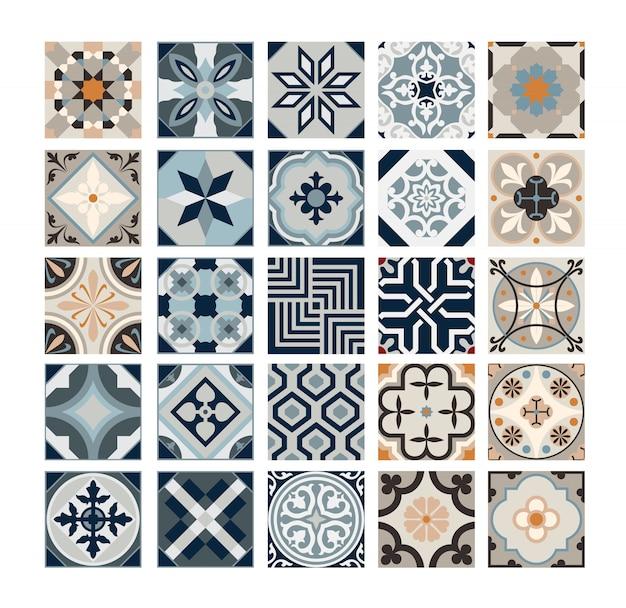 Carreaux vintage motifs portugais antique design sans couture en illustration vectorielle Vecteur Premium