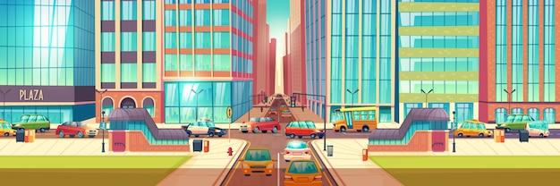 Carrefour de metropolis dans le dessin animé de pointe Vecteur gratuit