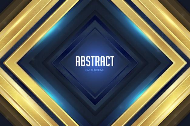 Carrés Géométriques Fond Abstrait Or Bleu Vecteur Premium