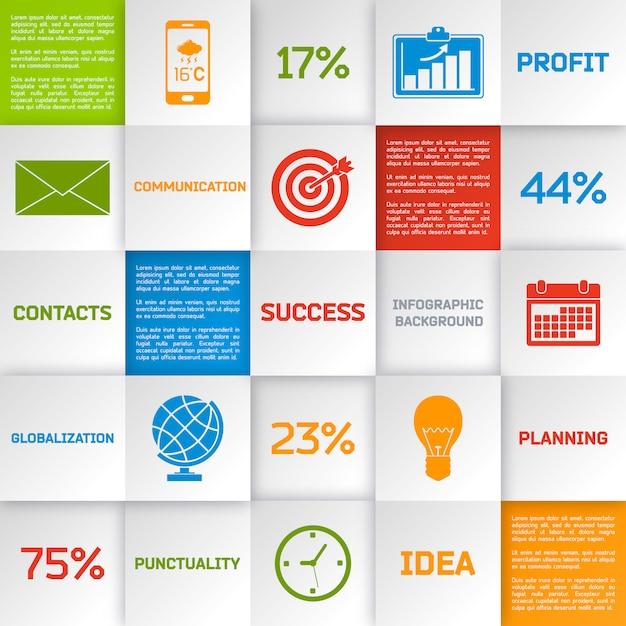 Carrés infographiques d'affaires Vecteur gratuit