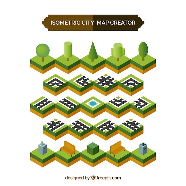 Carrés isométriques pour créer une ville Vecteur gratuit