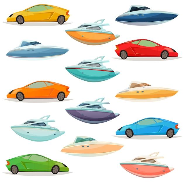 Cars yachts boats cartoon set Vecteur gratuit