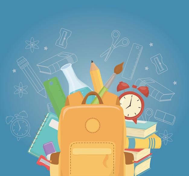 Cartable et fournitures à l'école Vecteur gratuit