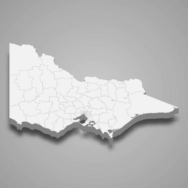 Carte 3d De L'état De L'australie Vecteur Premium