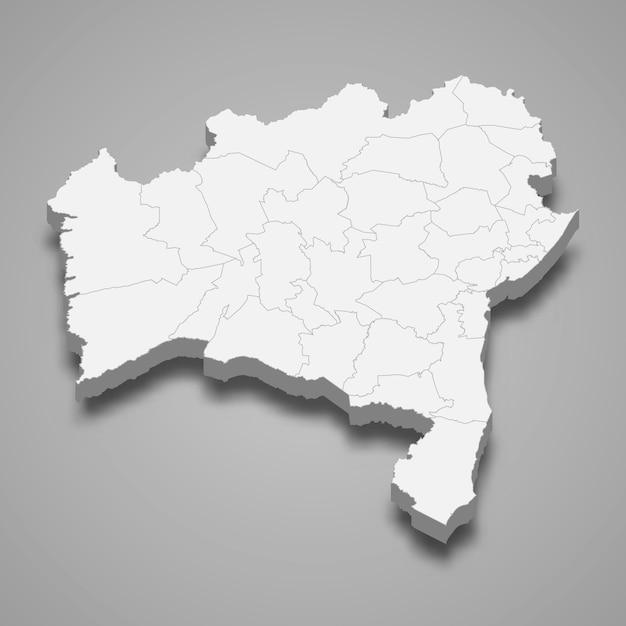 Carte 3d De L'état Du Brésil Vecteur Premium