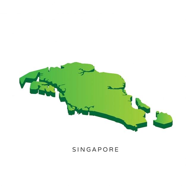 Carte 3d isométrique moderne de singapour Vecteur gratuit