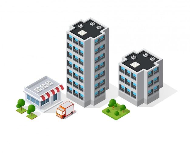 Carte 3d de la ville sur blanc Vecteur Premium