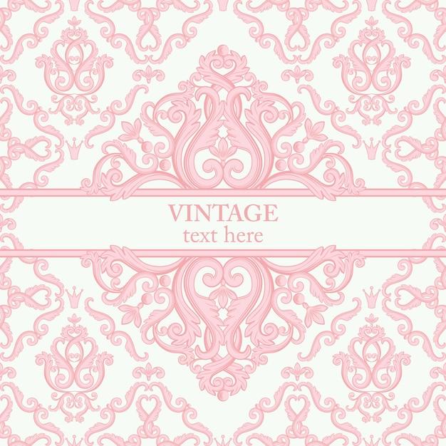 Carte avec abstrait baroque royal fond en rose Vecteur Premium