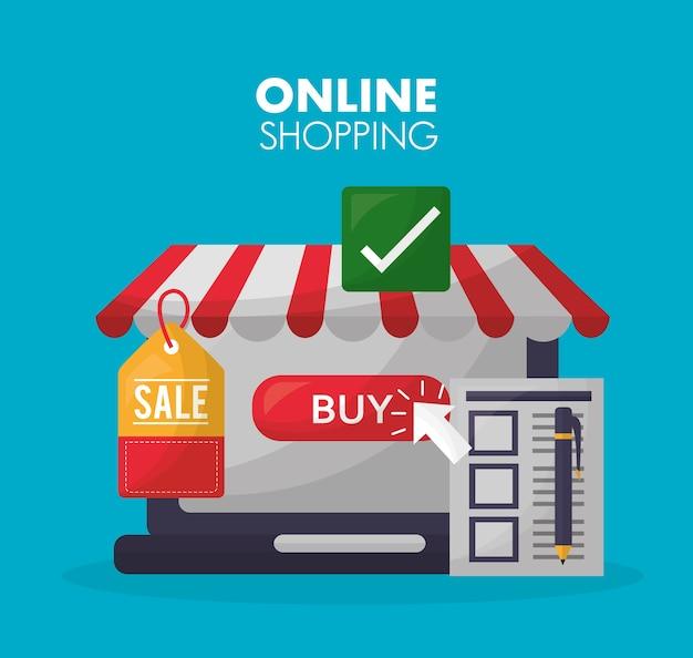 Carte d'achat en ligne Vecteur Premium