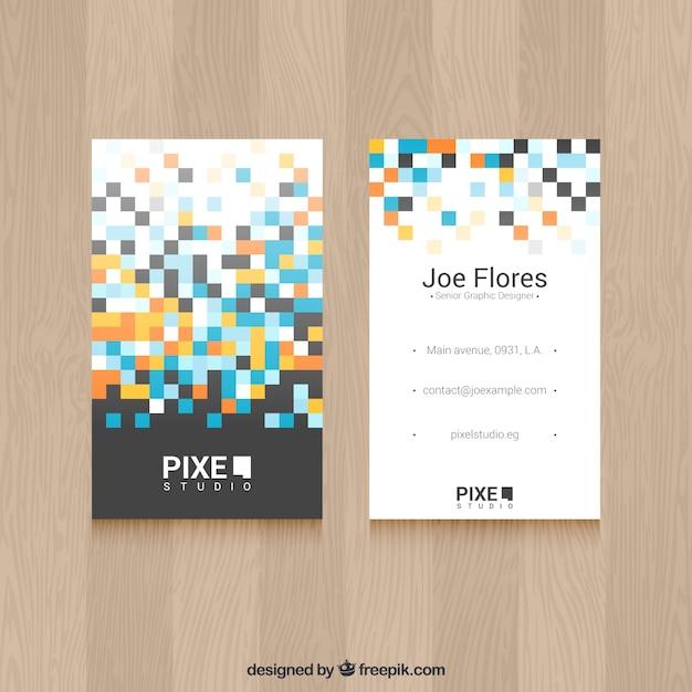 Carte d'affaires moderne avec des carrés de couleur Vecteur gratuit