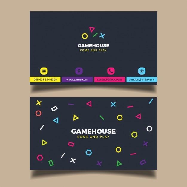 Carte D'affaires Moderne Avec Elementes Colorés Vecteur gratuit