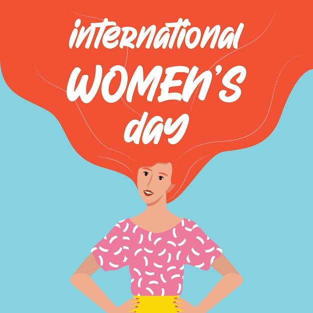 Carte Ou Affiche De La Journée De La Femme Du 8 Mars, Bannière Web. Belle Femme Jeune Et Puissante, Féminisme Et Pouvoir Des Filles. égalité Des Sexes Et Mouvement Des Femmes. Vecteur Premium