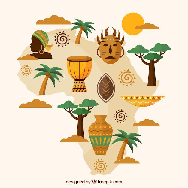 Carte De L'afrique Avec Des éléments Dans Le Style Plat Vecteur gratuit