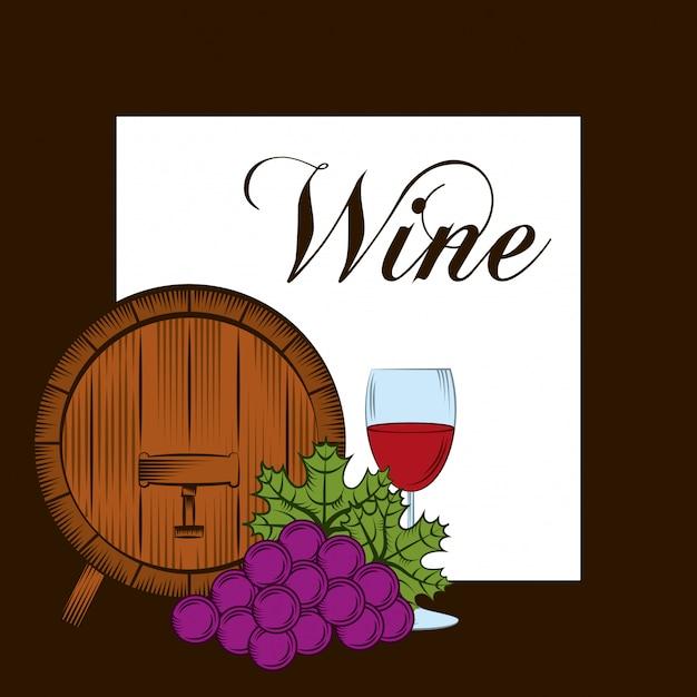 Carte d'alcool de vin Vecteur Premium