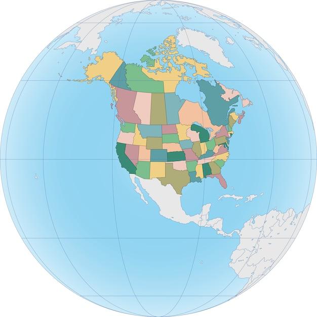Carte de l'amérique du nord avec les états-unis et le canada Vecteur Premium
