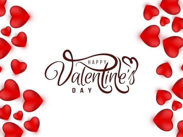 Carte D'amour élégante De Saint Valentin Avec Coeurs Vecteur gratuit