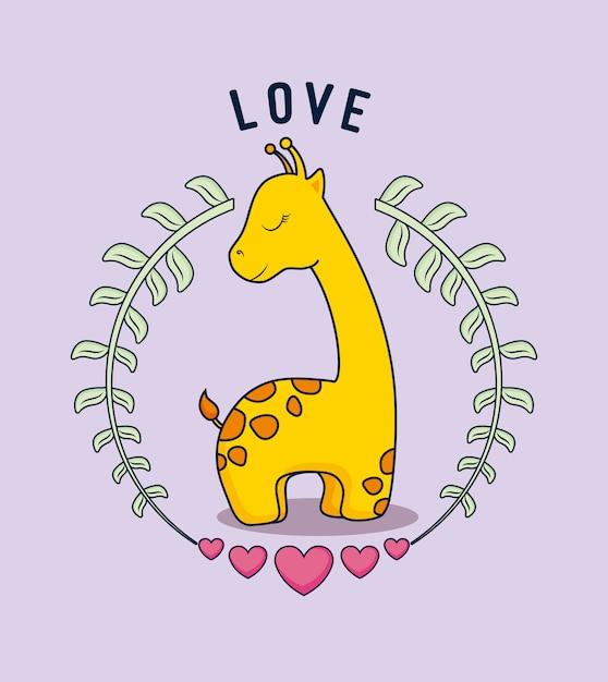 Carte d'amour avec girafe mignonne Vecteur Premium