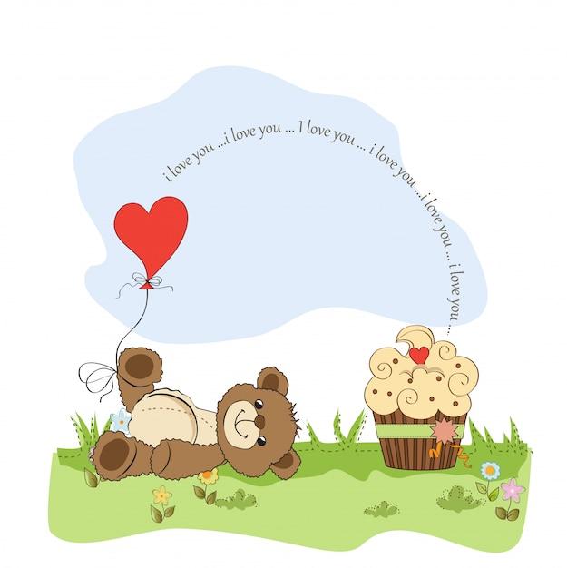 Carte d'amour mignonne avec ours en peluche Vecteur Premium