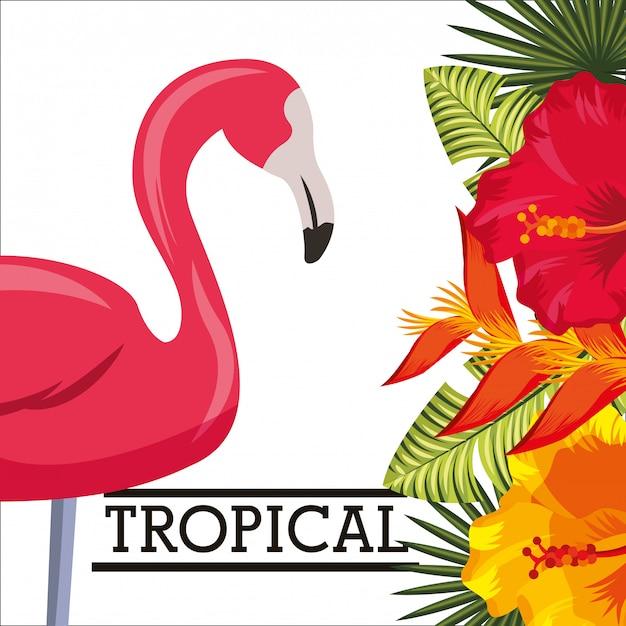 Carte d'animal feuilles tropicales de fleurs Vecteur Premium