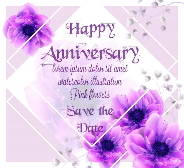 Carte d'anniversaire avec aquarelle de fleurs roses Vecteur Premium