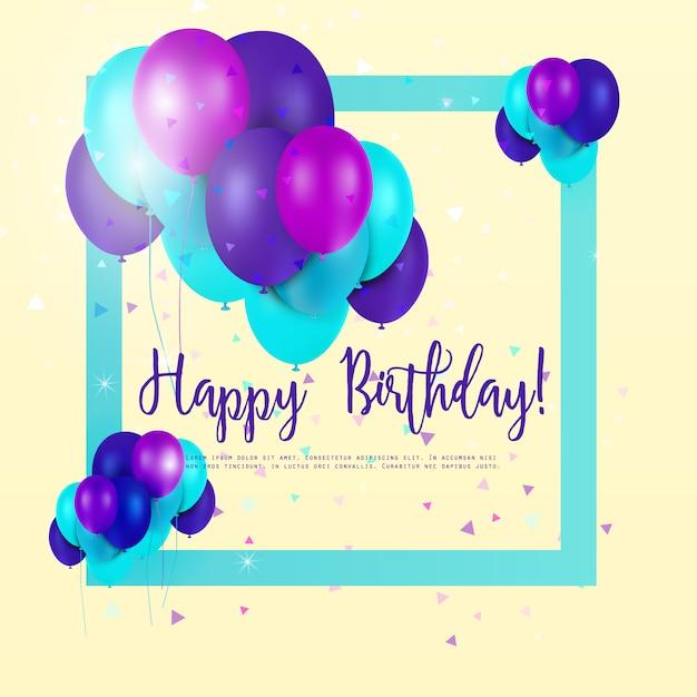 Carte d'anniversaire avec des ballons multicolores Vecteur gratuit