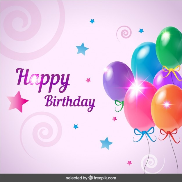Carte d'anniversaire avec des ballons Vecteur gratuit