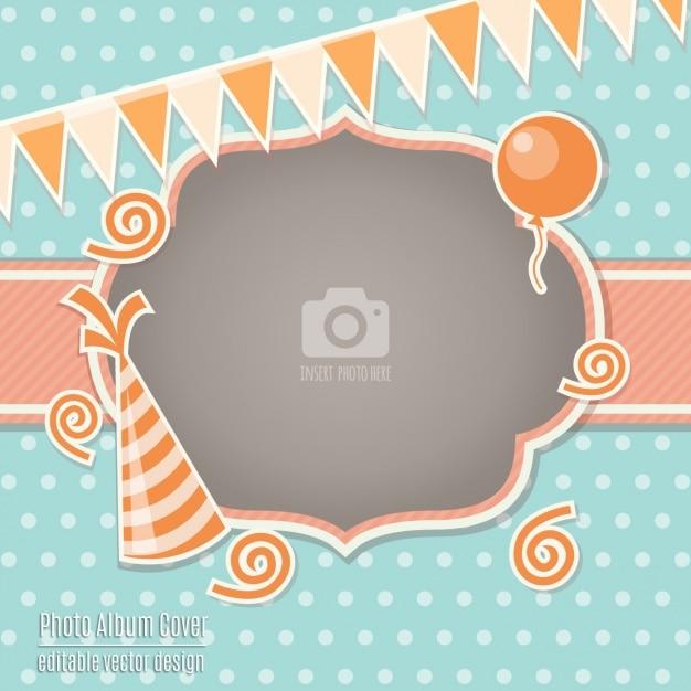 Carte d'anniversaire avec un cadre orange Vecteur gratuit