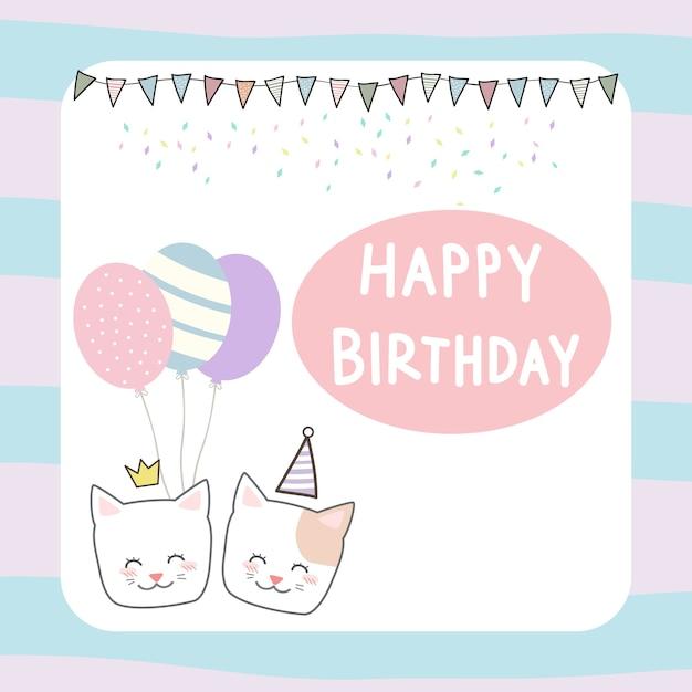 Carte d'anniversaire de chaton mignon chat pastel Vecteur Premium