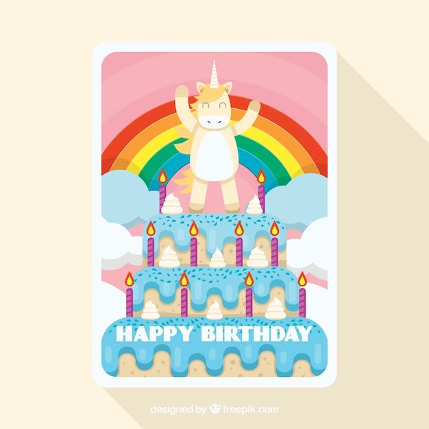 Carte Danniversaire Drôle Avec Une Licorne Sur Un Gâteau