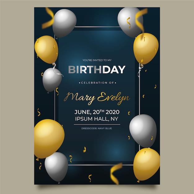 Carte D'anniversaire élégante Avec Des Ballons Réalistes Vecteur Premium