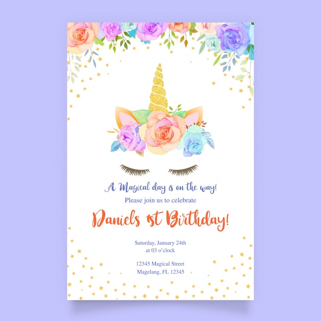Carte d'anniversaire avec floral et licorne Vecteur Premium