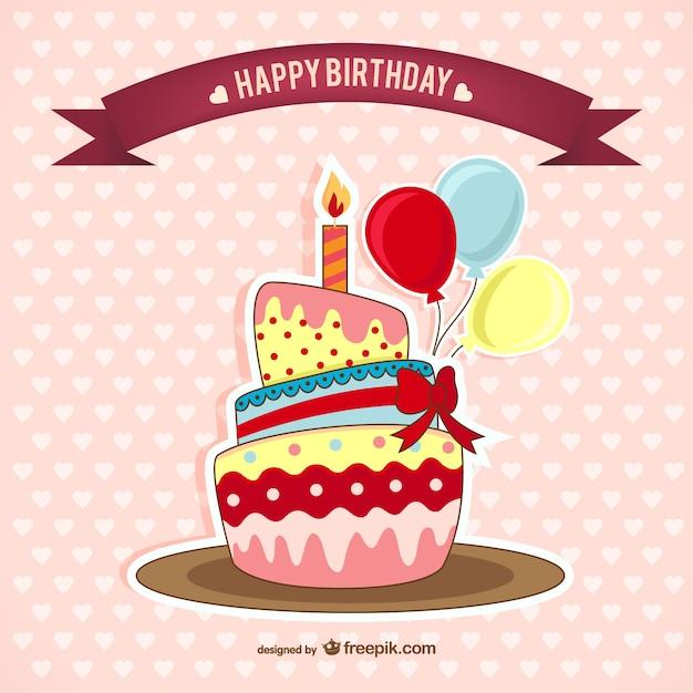 Carte d'anniversaire avec un gâteau Vecteur gratuit