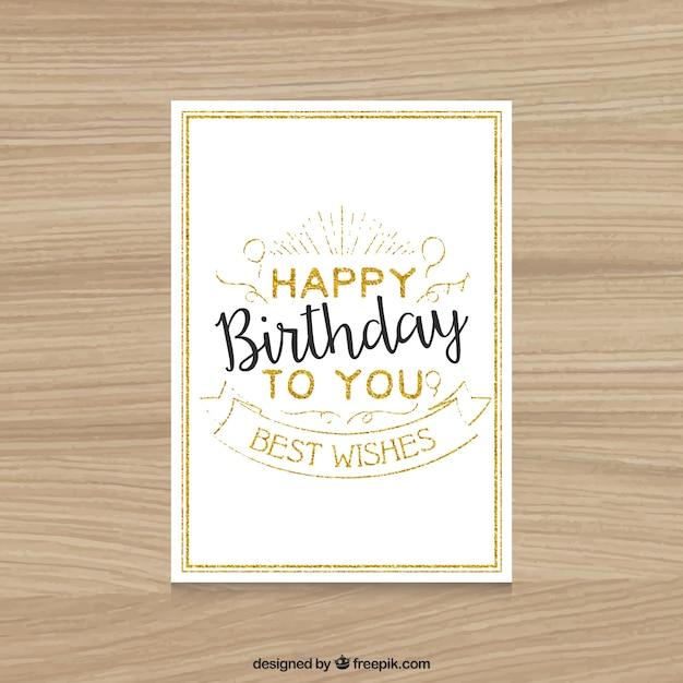 Carte D'anniversaire Heureux Vintage Vecteur gratuit