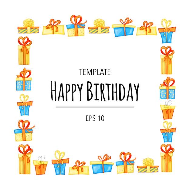 Carte d'anniversaire. invitation avec des coffrets cadeaux. style de bande dessinée. Vecteur Premium