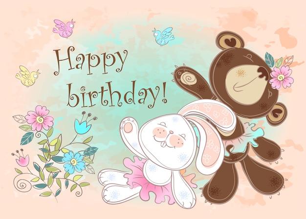 Carte d'anniversaire avec un lapin et un ours. Vecteur Premium