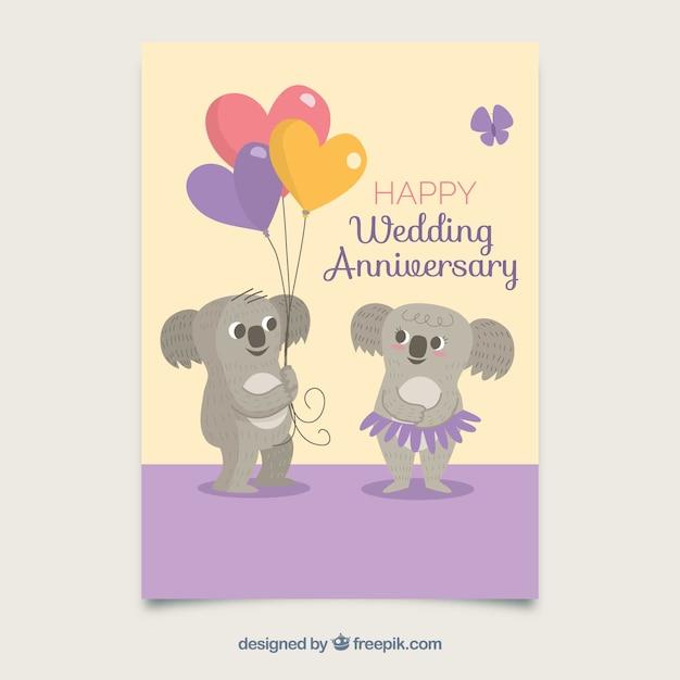 Carte d'anniversaire de mariage avec un couple mignon koalas Vecteur gratuit