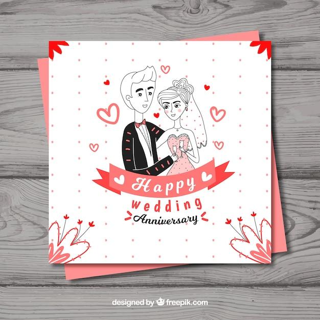 Carte D Anniversaire De Mariage Avec Couple Vecteur Gratuite