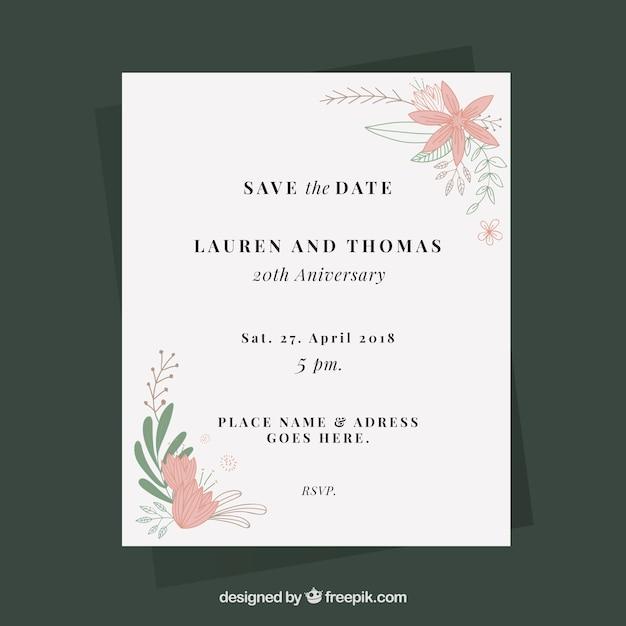 Vecteur Gratuite Carte D Anniversaire De Mariage Avec Des Fleurs