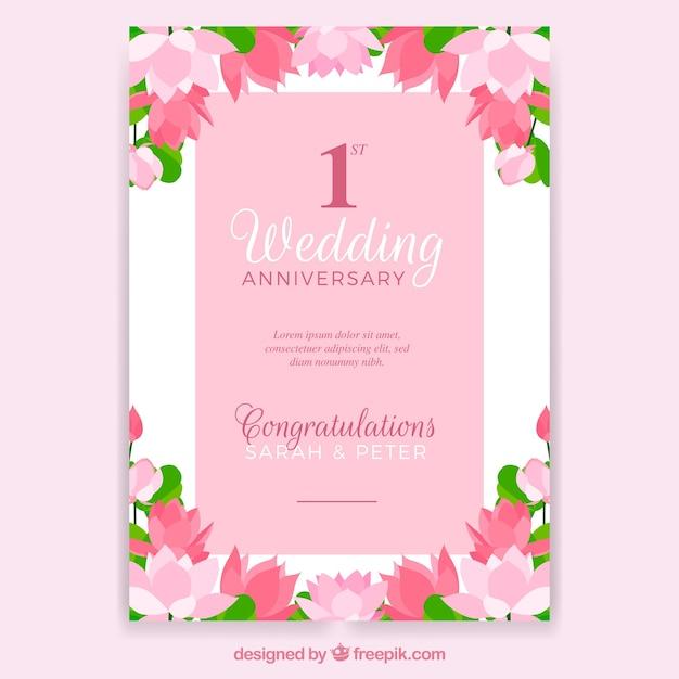 Carte D Anniversaire De Mariage Avec Des Fleurs Vecteur Gratuite