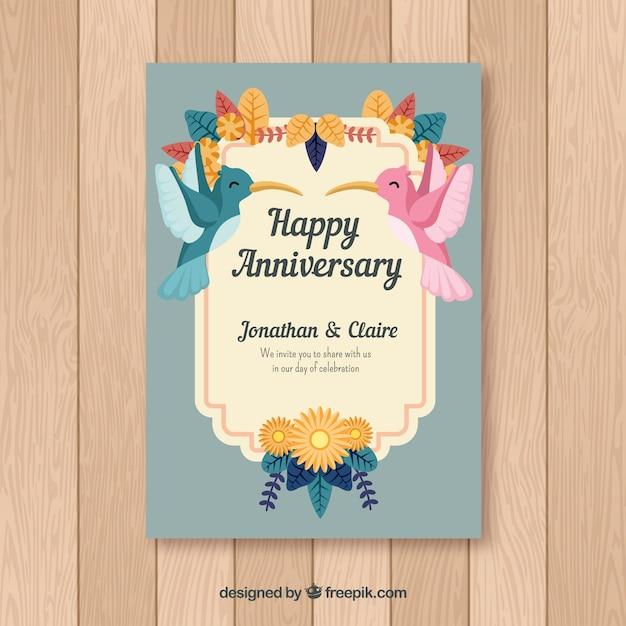 Carte D Anniversaire De Mariage Avec Des Oiseaux Vecteur Gratuite