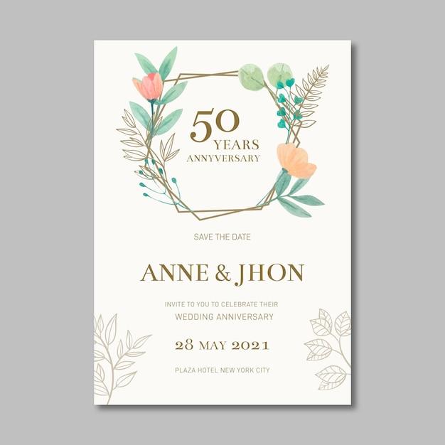 Carte D'anniversaire De Mariage Vecteur gratuit
