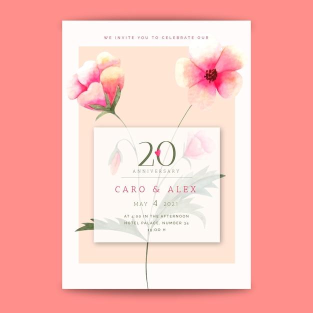 Carte D'anniversaire De Mariage Vecteur Premium