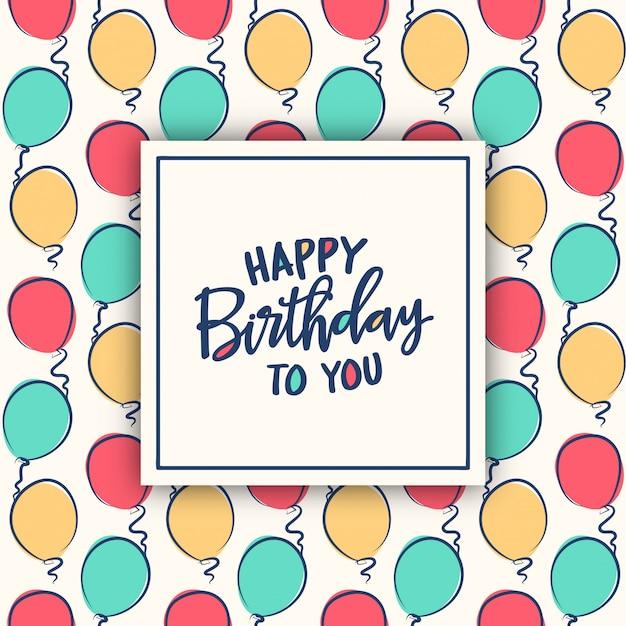 Carte D'anniversaire Avec Motif Ballons Colorés Vecteur Premium
