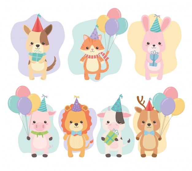 Carte d'anniversaire avec des personnages de petits animaux Vecteur Premium