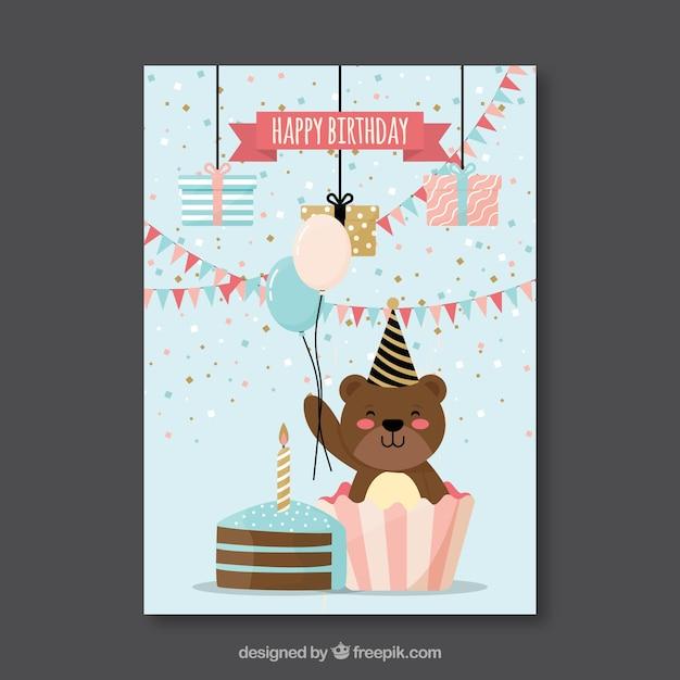 Carte D'anniversaire Plat Avec Un Ours Vecteur gratuit