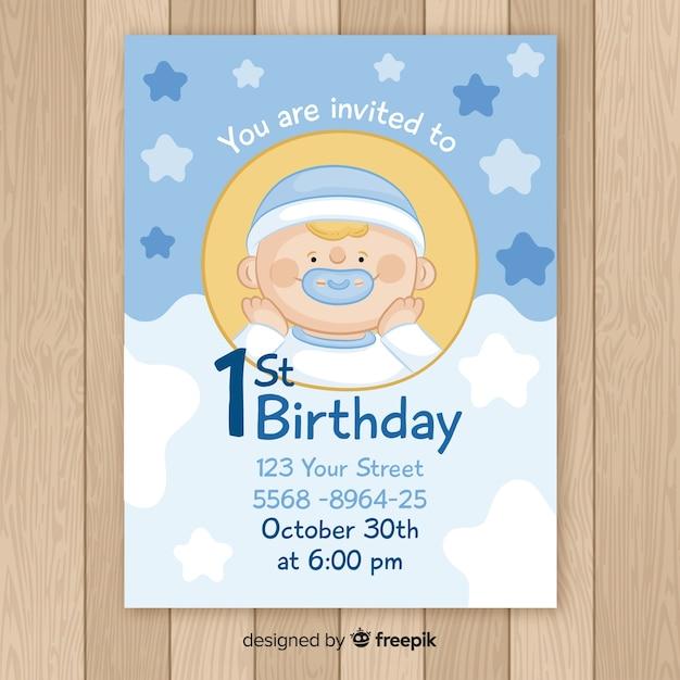 Carte d'anniversaire premier bébé garçon dessiné à la main Vecteur gratuit