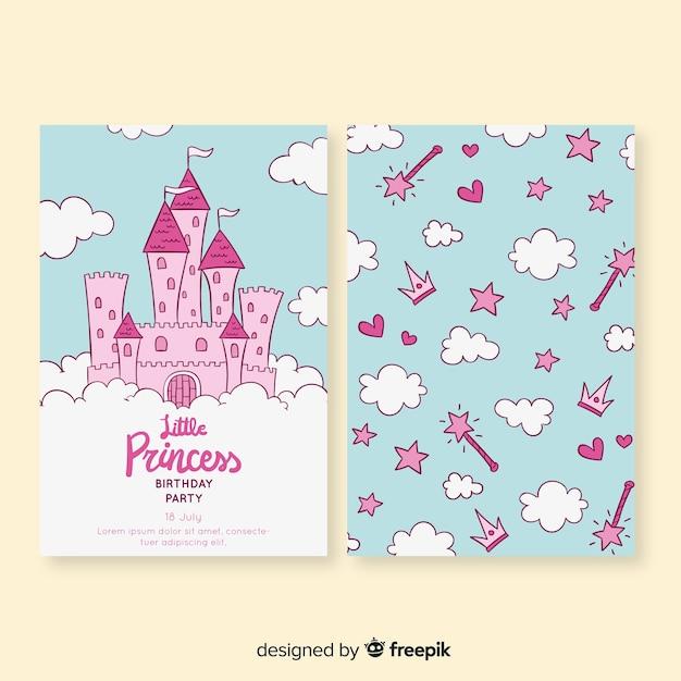 Carte d'anniversaire style princesse dessinée à la main Vecteur gratuit